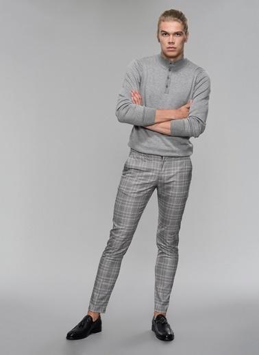 People By Fabrika Ekose Desenli Pantolon Gri